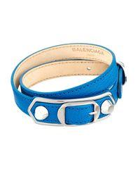 Balenciaga - Blue Metallic Edge Leather Wrap Bracelet - Lyst