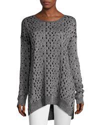 Joan Vass - Black Leopard-jacquard High-low Sweater - Lyst