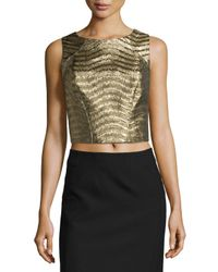 Zac Zac Posen - Metallic Sleeveless Jacquard Crop Top - Lyst