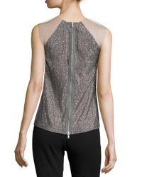 Kaufman Franco - Gray Sleeveless Embellished Top - Lyst
