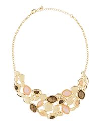 Fragments - Metallic Rose Quartz & Gray Stone Statement Bib Necklace - Lyst