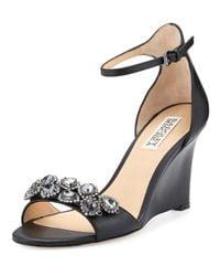 Badgley Mischka | Brown Clear Crystal Leather Dressy Sandal | Lyst