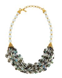 Jose & Maria Barrera | Metallic Golden Multi-strand Abalone & Glass Bead Necklace | Lyst