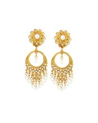Jose & Maria Barrera   Metallic Golden Pearlescent Round Filigree Chandelier Earrings   Lyst