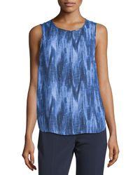 MICHAEL Michael Kors   Blue Printed Shirttail Metal-logo Tank   Lyst