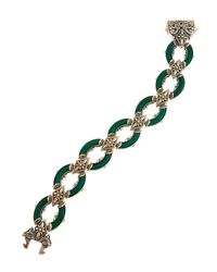 Konstantino | Metallic Ismene Ornate Green Agate Oval Link Bracelet | Lyst