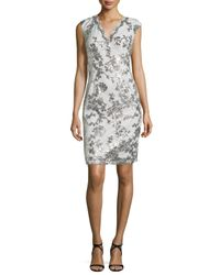 Marina - Metallic Swan Queen Sequined Sheath Dress - Lyst