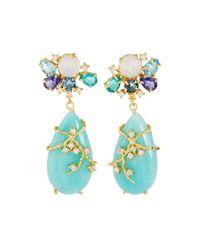 Indulgems | Blue Golden Multi-gemstone Cluster Drop Earrings | Lyst