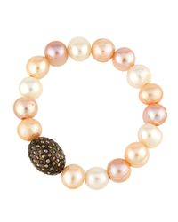 Bavna - White Pink Freshwater Pearl & Champagne Diamond Stretch Bracelet - Lyst