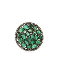 Bavna | Green Round Emerald & Diamond Cocktail Ring | Lyst