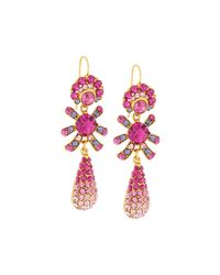 Jose & Maria Barrera | Multicolor Golden Pave Crystal Triple-drop Earrings | Lyst