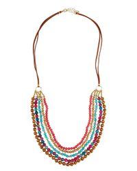 Panacea   Multicolor Long Multi-row Agate & Wood Beaded Necklace   Lyst