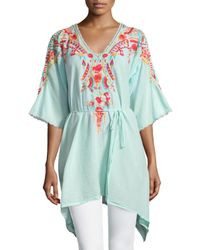 Johnny Was | Blue Cleopatra Embroidered V-neck Tunic | Lyst