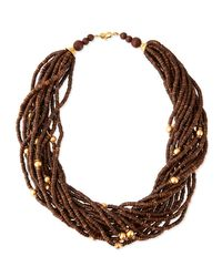Kenneth Jay Lane | Multicolor Multi-strand Wooden Beaded Necklace | Lyst