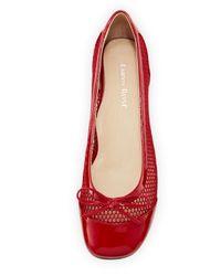 Taryn Rose - Red Blanche Mesh & Patent Ballerina Flat - Lyst