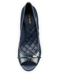 Cole Haan - Blue Tali Open-toe Leather Wedge Pump - Lyst