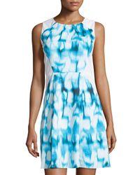Tahari - Blue Tie-dye Sheath Dress - Lyst