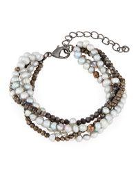 Panacea - Multicolor Multi-row Freshwater Pearl & Crystal Bracelet - Lyst