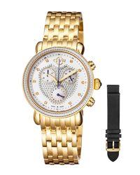 Gv2 - White 37mm Marsala Chronograph Watch W/ Diamonds & Leather Strap - Lyst