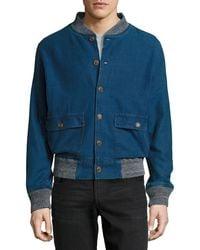 Faherty Brand | Blue Denim Slub Bomber Jacket for Men | Lyst