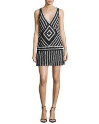 Alice + Olivia Black Venetia Embellished A-line Short Dress