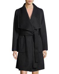Diane von Furstenberg | Black Double-face Wool Wrap Coat | Lyst