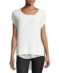 Bishop + Young | White Chunky-knit Chiffon-layered Sweater | Lyst