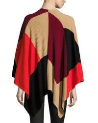 Vince Camuto | Red Colorblock Ribbed Poncho | Lyst
