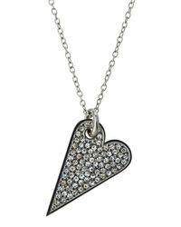 Rebecca Minkoff - Multicolor Rhodium-tone Crystal Heart Pendant Necklace - Lyst