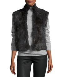 Adrienne Landau | Black Fitted Rabbit Fur Vest | Lyst