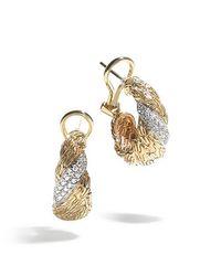 John Hardy | Metallic Classic Chain Twisted 18k Diamond Buddha Belly Hoop Earrings | Lyst