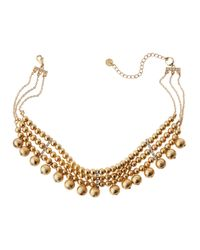 Lydell NYC - Metallic Golden Triple-strand Beaded Choker Necklace - Lyst