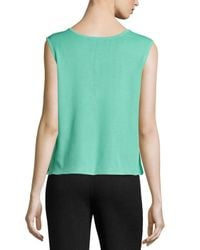 Ming Wang - Green Scoop-neck Knit Tank - Lyst