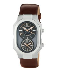 Philip Stein | Brown Large Signature Dual Time Zone Watch W/ Calfskin Strap for Men | Lyst
