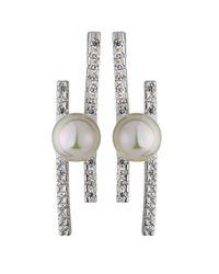 Majorica | White Kate Pave Cz Bar & Pearl Stud Earrings | Lyst