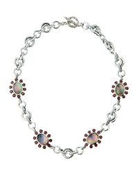 Stephen Dweck | Metallic Verona Mother-of-pearl Doublet & Garnet Floral Station Necklace | Lyst