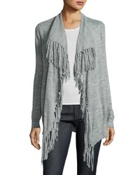 Rebecca Taylor | Gray Fringe-trim Open-front Cardigan | Lyst