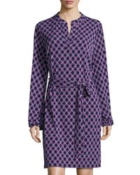 Laundry by Shelli Segal | Purple Mandarin-collar Graphic Dress | Lyst