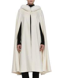 Neiman Marcus - White Long Cape With Fox Fur Trim - Lyst