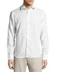 Neiman Marcus White Linen Long-sleeve Sport Shirt for men