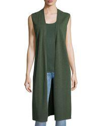 Neiman Marcus | Green Long Cashmere Vest W/ Side Slits | Lyst