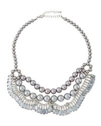Fragments | Metallic Pearly Crystal Statement Bib Necklace | Lyst