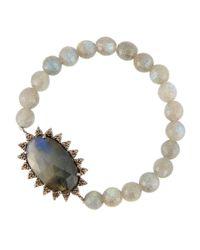 Bavna - Multicolor Mixed Labradorite & Diamond Beaded Stretch Bracelet - Lyst