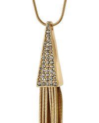 Panacea - Metallic Golden Crystal Tassel Pendant Necklace - Lyst