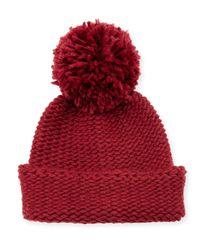 Portolano - Black Wool-blend Pompom Cuff Hat - Lyst
