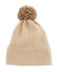Portolano - Natural Wool-blend Pompom Hat - Lyst