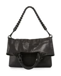Elliott Lucca | Black Iara Leather Fold-over Crossbody Tote Bag | Lyst