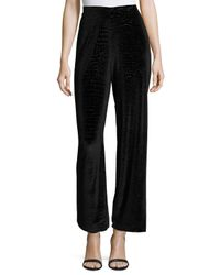 Romeo and Juliet Couture | Black Velvet Snakeskin-print High-waist Pants | Lyst