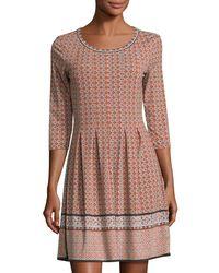 Max Studio | Black 3/4-sleeve Tuck-pleat Printed Jersey Dress | Lyst
