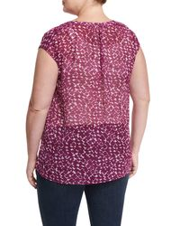 Vince Camuto Multicolor Cap-sleeve Printed Crepe Blouse